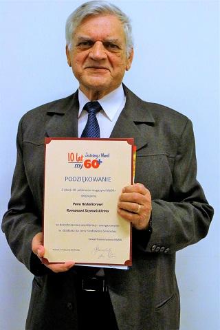 """Red. Roman Szymański z podziękowaniem za współpracę z magazynem """"My60+""""."""